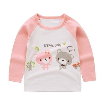 Cute Animal Printed Unisex T-shirt - Pink + White 2 / 6-9 months