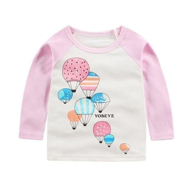Cute Animal Printed Unisex T-shirt - Pink + White / 6-9 months