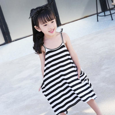 Cute Black & White Striped Matching Dress for Mother Daughter