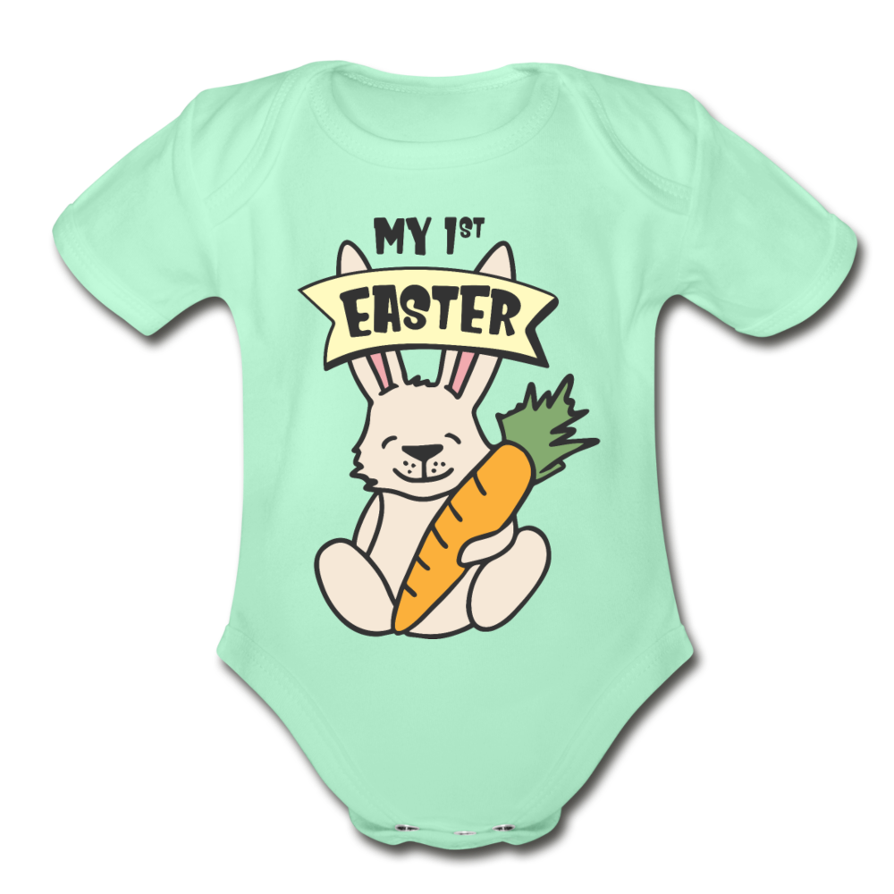 Cute Bunny My 1st Easter Baby Unisex Onesie - light mint