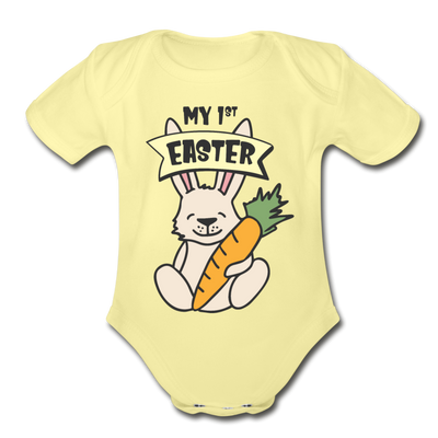 Cute Bunny My 1st Easter Baby Unisex Onesie - washed yellow