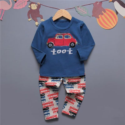 Cute Car clothing set for boys - Blue / 18-24 months