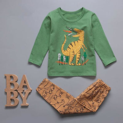 Cute Car clothing set for boys - Green / 18-24 months