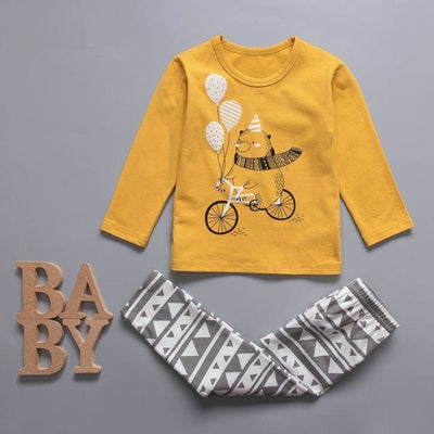 Cute Car clothing set for boys - Yellow / 18-24 months