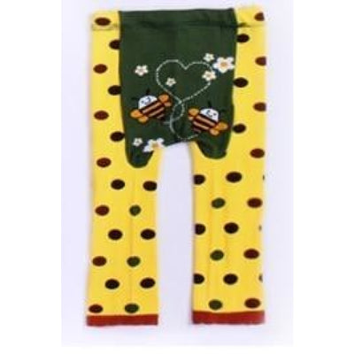 Cute Cartoon Animal Pattern Leggings Girls - Bees Yellow / 6-9 months