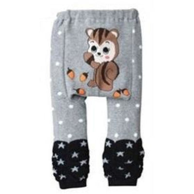Cute Cartoon Animal Pattern Leggings Girls - Gray / 6-9 months