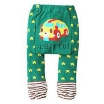 Cute Cartoon Animal Pattern Leggings Girls - Green Star / 6-9 months