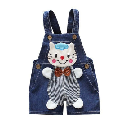 Cute Cartoon Cat Jumpsuit for Kids Unisex - Dark Blue / 9-12 months / United States