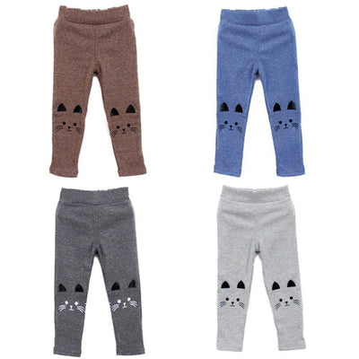 Cute Cat Print Stretchy Warm Leggings for Baby Girls