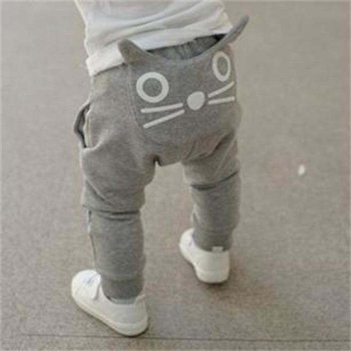Cute Cat Whiskers themed Unisex trousers for Babies