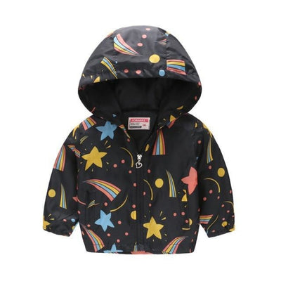 Cute Colourful Hoodie for Girls - Black Rainbow / 5-6 years