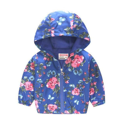 Cute Colourful Hoodie for Girls - Blue Floral / 5-6 years
