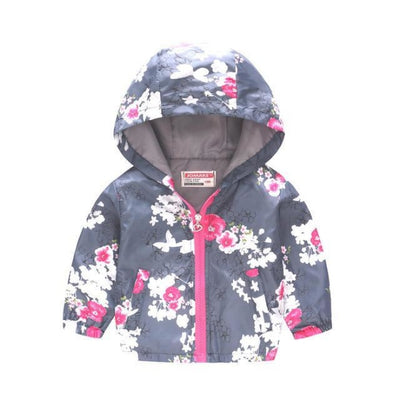 Cute Colourful Hoodie for Girls - Gray Plum Flower / 5-6 years