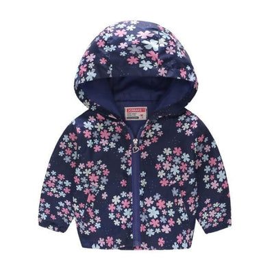 Cute Colourful Hoodie for Girls - Navy Snowflake / 18-24 months