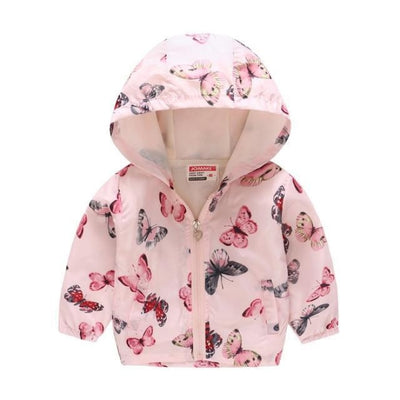 Cute Colourful Hoodie for Girls - Pink Butterfly / 6-7 years