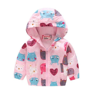 Cute Colourful Hoodie for Girls - Pink Cartoon / 2-3 years