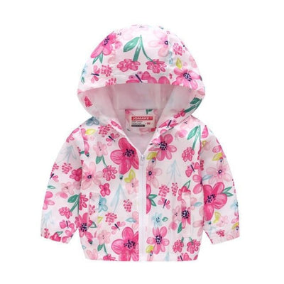 Cute Colourful Hoodie for Girls - Pink Floral / 2-3 years