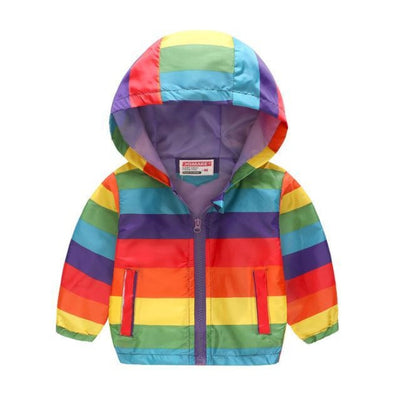 Cute Colourful Hoodie for Girls - Rainbow Stripe / 2-3 years
