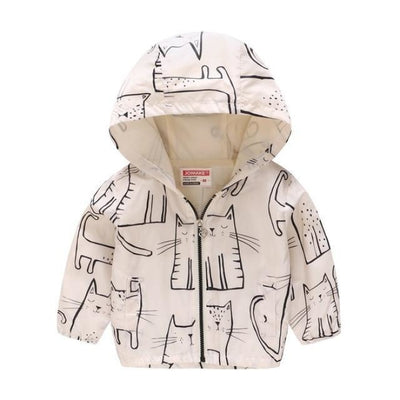 Cute Colourful Hoodie for Girls - White Cat / 5-6 years