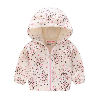 Cute Colourful Hoodie for Girls - White Stars / 5-6 years