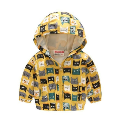 Cute Colourful Hoodie for Girls - Yellow Cat / 2-3 years