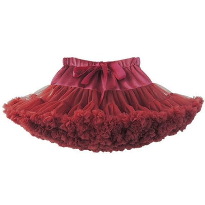 Cute Fluffy Ballerina Skirt for Girls - ruby / 18-24 months
