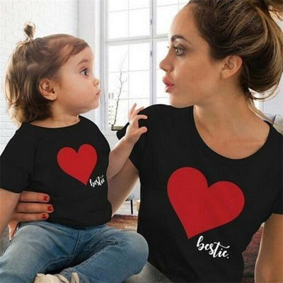 Cute Heart Print Matching Summer T-Shirts for Mother Daughter - Black / Kids 7-8 years