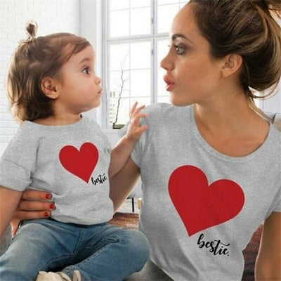 Cute Heart Print Matching Summer T-Shirts for Mother Daughter - Gray / Kids 7-8 years