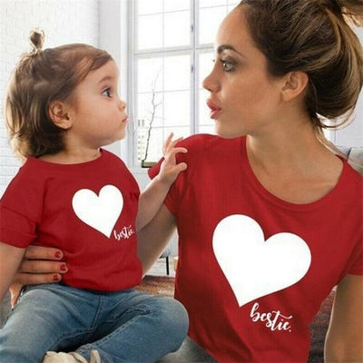 Cute Heart Print Matching Summer T-Shirts for Mother Daughter - Red / Kids 3-4 years