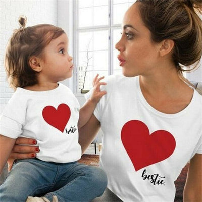 Cute Heart Print Matching Summer T-Shirts for Mother Daughter - White / Women L