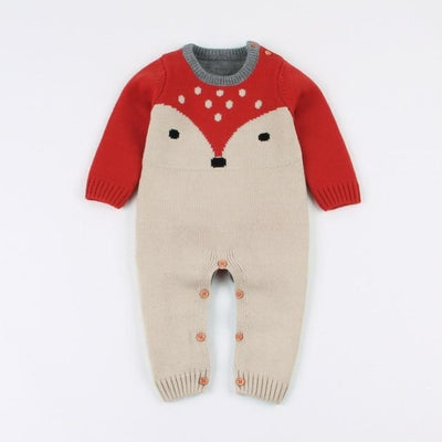 Cute Knitted Winter Jumpsuit for Babies Unisex - red / 18-24 months