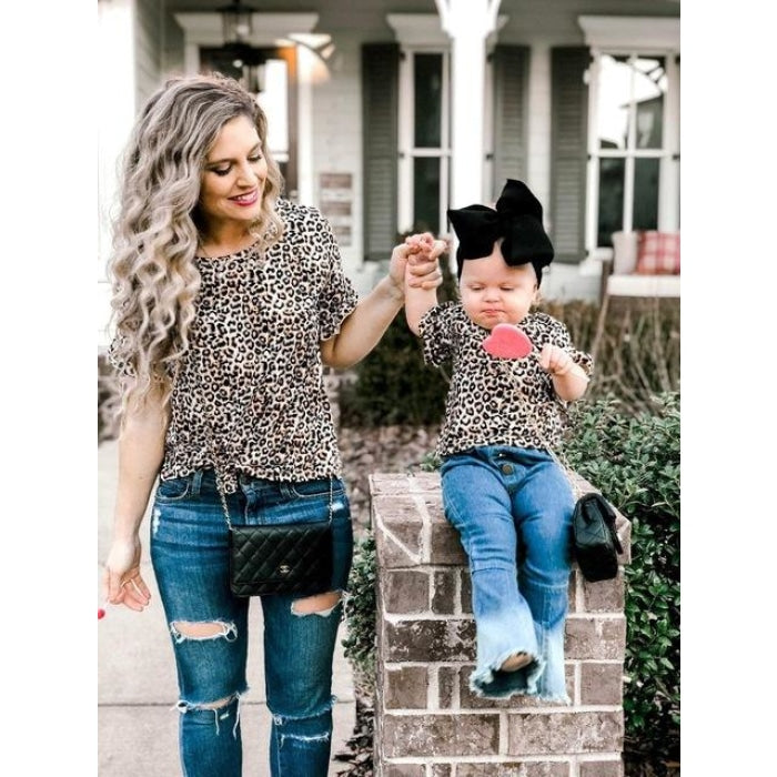 Cute Leopard Print Matching Tops for Mother Daughter