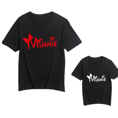 Cute Letter Print Matching T-shirts for Mother Son Daughter - Minni Red / child 12-24 months