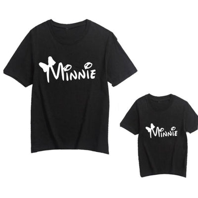 Cute Letter Print Matching T-shirts for Mother Son Daughter - Minni White / child 12-24 months