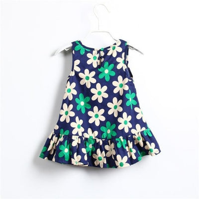 Cute Little Flower Sleeveless Summer Floral Print Mini Dress for Girls - Green / 18-24 months