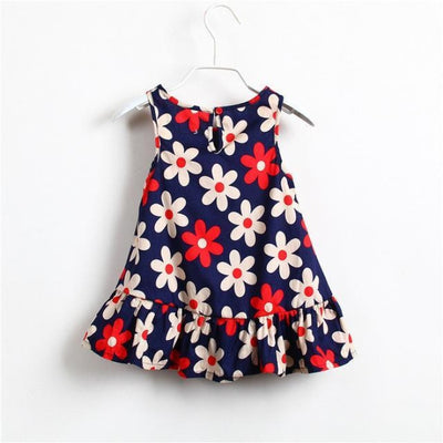 Cute Little Flower Sleeveless Summer Floral Print Mini Dress for Girls - Red / 18-24 months