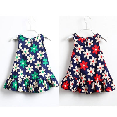 Cute Little Flower Sleeveless Summer Floral Print Mini Dress for Girls