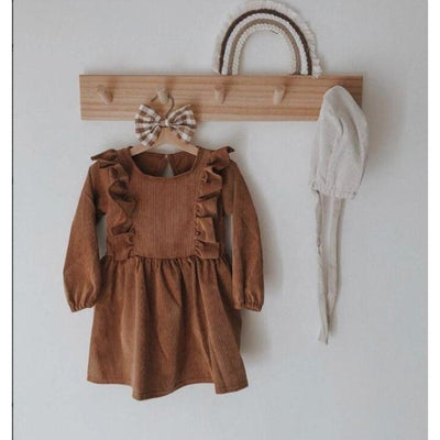 Cute Long Sleeve Ruffles Autumn Vintage Dress for Girls - Brown / 12-18 months