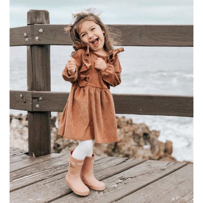 Cute Long Sleeve Ruffles Autumn Vintage Dress for Girls