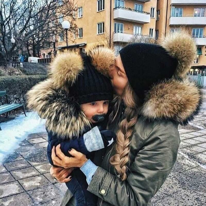 Cute Parent-Child Warm Knitted Winter Caps with Double Fur Ball Pompom