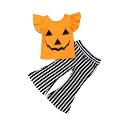 Cute Pumpkin Face Halloween Clothing Set for Girls - Orange / 4-5 years