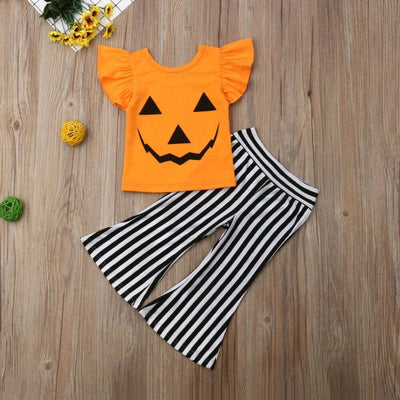 Cute Pumpkin Face Halloween Clothing Set for Girls