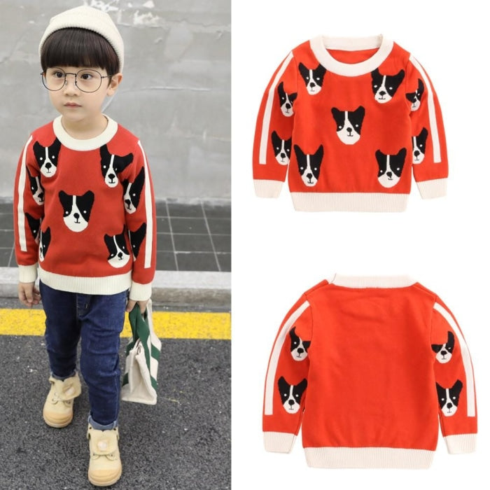 Cute Puppy Pattern Sweater for Kids Unisex