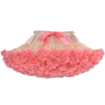Cute Ruffle Ball gown Skirt for Girls - Peach with coral / 5-6 years