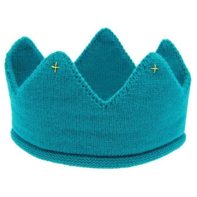 Cute Solid colour Crown Knit Unisex headband for Babies - Blue / China