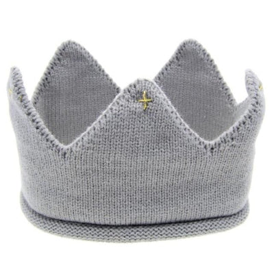 Cute Solid colour Crown Knit Unisex headband for Babies - Gray / China