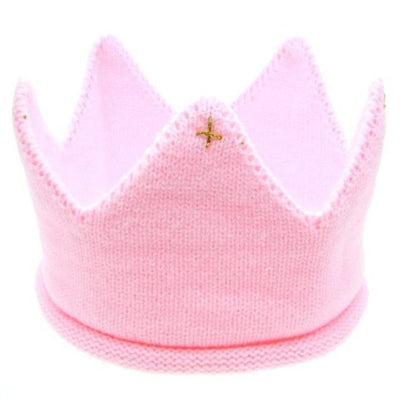 Cute Solid colour Crown Knit Unisex headband for Babies - Pink / China