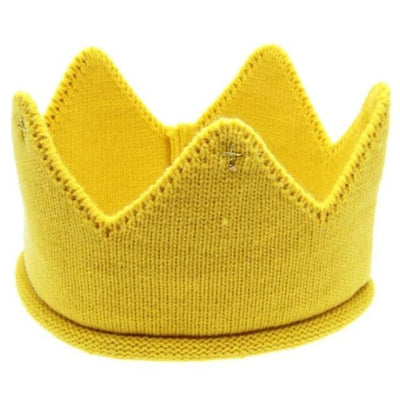 Cute Solid colour Crown Knit Unisex headband for Babies - Yellow / China