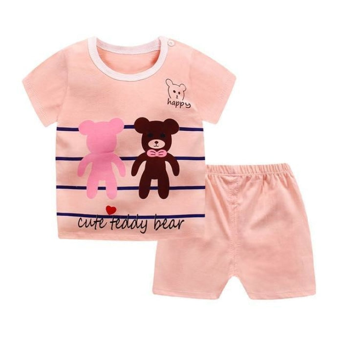 Cute Teddy Bear Cotton Clothing Set Kids Unisex - Pale Pink / 18-24 months