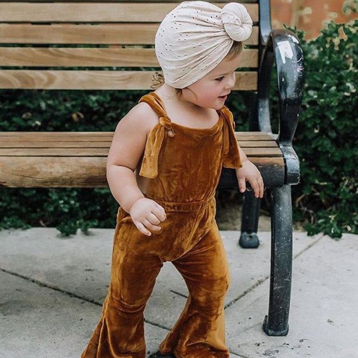 Cute Velvet Overall Bib Pants for Girl